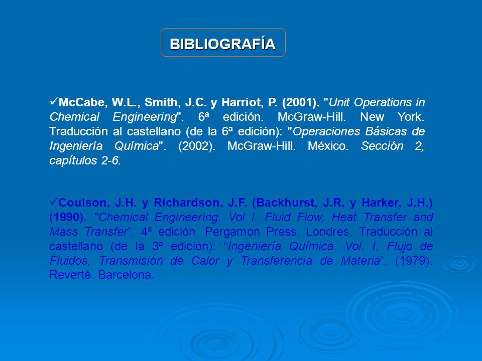 BIBLIOGRAFÍA Coulson, J.H. y Richardson, J.F. (Backhurst, J.R. y Harker, J.H.) (1990).