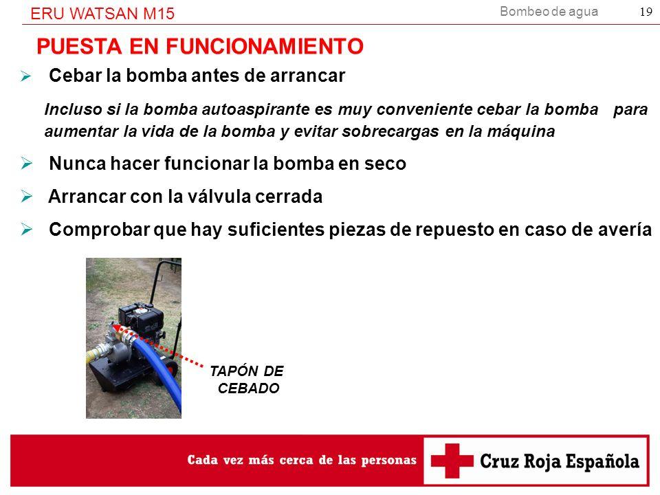 Bombeo de agua ERU WATSAN M15 19 PUESTA EN FUNCIONAMIENTO Cebar la bomba antes de arrancar Incluso si la bomba autoaspirante es muy conveniente cebar