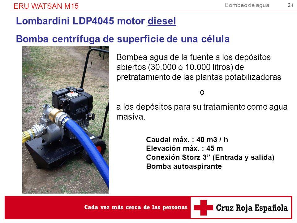 Bombeo de agua ERU WATSAN M15 24 Lombardini LDP4045 motor diesel Bomba centrífuga de superficie de una célula Bombea agua de la fuente a los depósitos