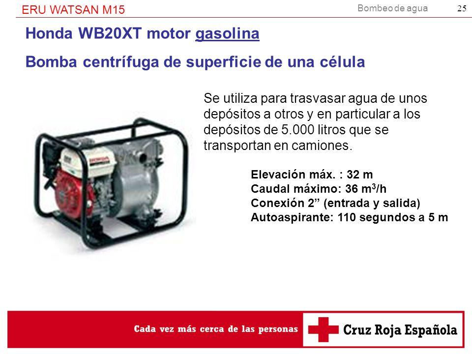 Bombeo de agua ERU WATSAN M15 25 Honda WB20XT motor gasolina Bomba centrífuga de superficie de una célula Se utiliza para trasvasar agua de unos depós