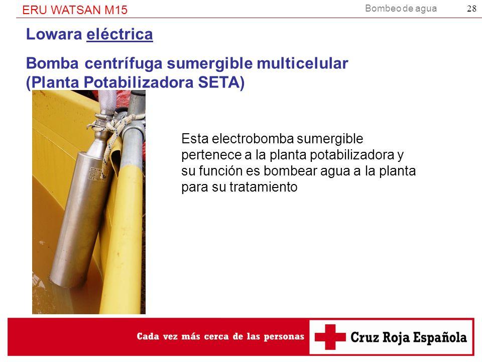 Bombeo de agua ERU WATSAN M15 28 Lowara eléctrica Bomba centrífuga sumergible multicelular (Planta Potabilizadora SETA) Esta electrobomba sumergible p