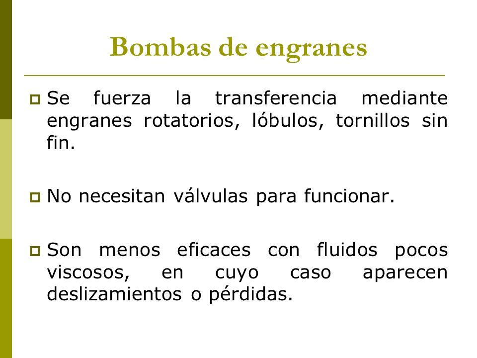 Bombas de engranes Se fuerza la transferencia mediante engranes rotatorios, lóbulos, tornillos sin fin. No necesitan válvulas para funcionar. Son meno