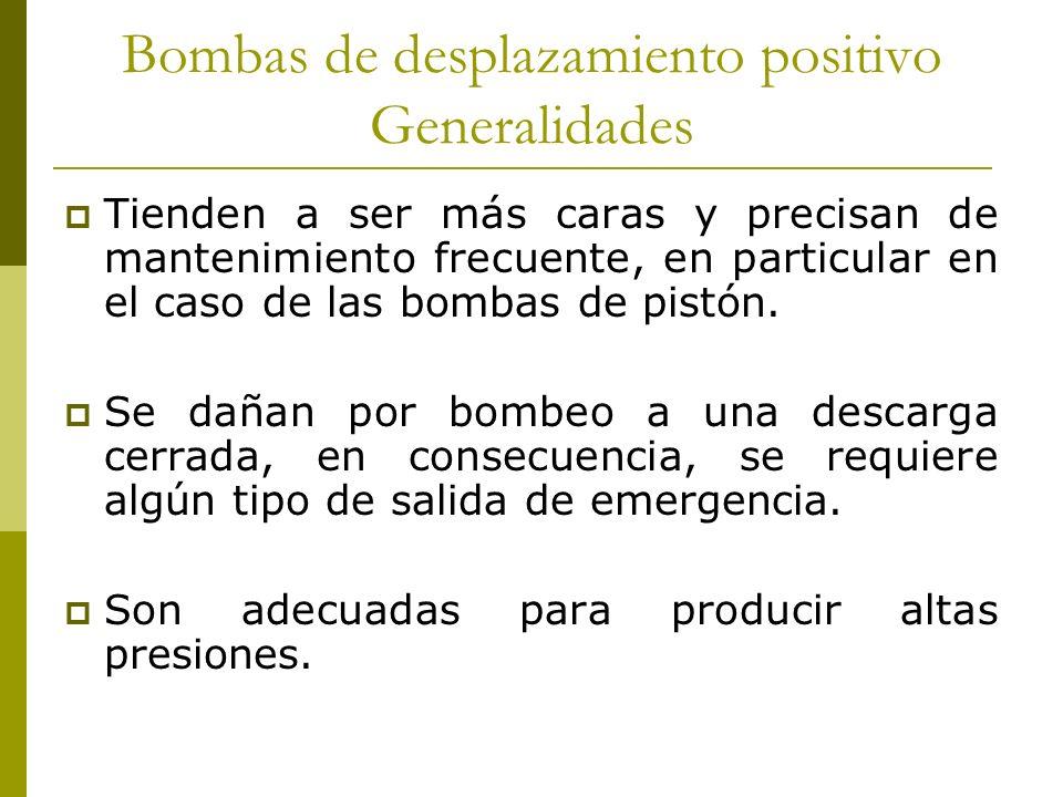 Bombas de desplazamiento positivo Generalidades Tienden a ser más caras y precisan de mantenimiento frecuente, en particular en el caso de las bombas