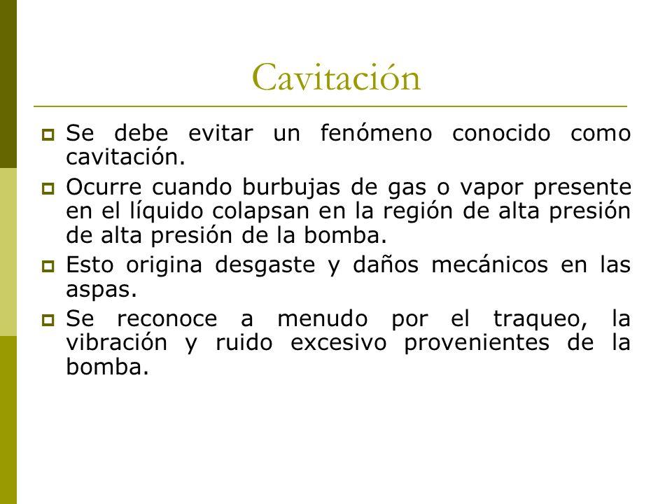 Cavitación Se debe evitar un fenómeno conocido como cavitación. Ocurre cuando burbujas de gas o vapor presente en el líquido colapsan en la región de
