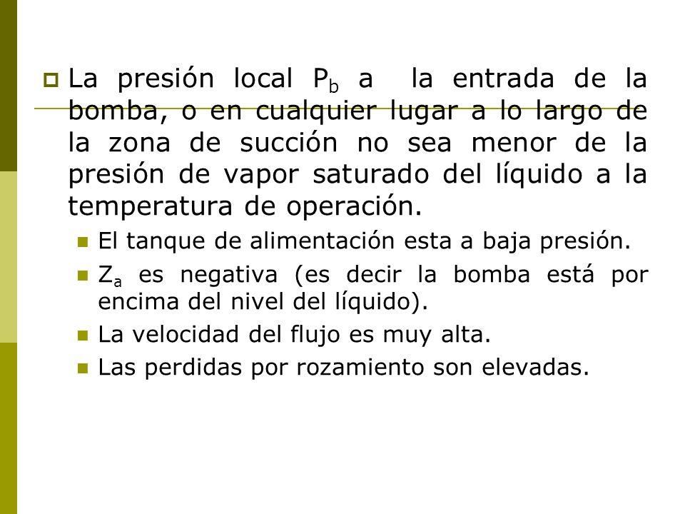 La presión local P b a la entrada de la bomba, o en cualquier lugar a lo largo de la zona de succión no sea menor de la presión de vapor saturado del