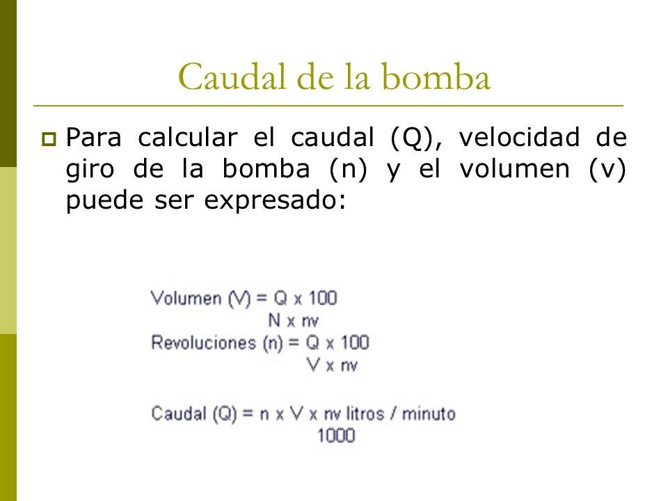 Caudal de la bomba Para calcular el caudal (Q), velocidad de giro de la bomba (n) y el volumen (v) puede ser expresado: