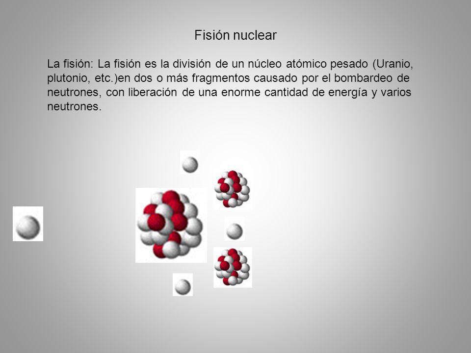 Fisión nuclear La fisión: La fisión es la división de un núcleo atómico pesado (Uranio, plutonio, etc.)en dos o más fragmentos causado por el bombarde