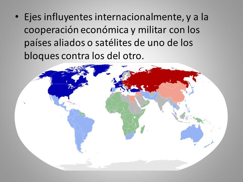 Ejes influyentes internacionalmente, y a la cooperación económica y militar con los países aliados o satélites de uno de los bloques contra los del ot
