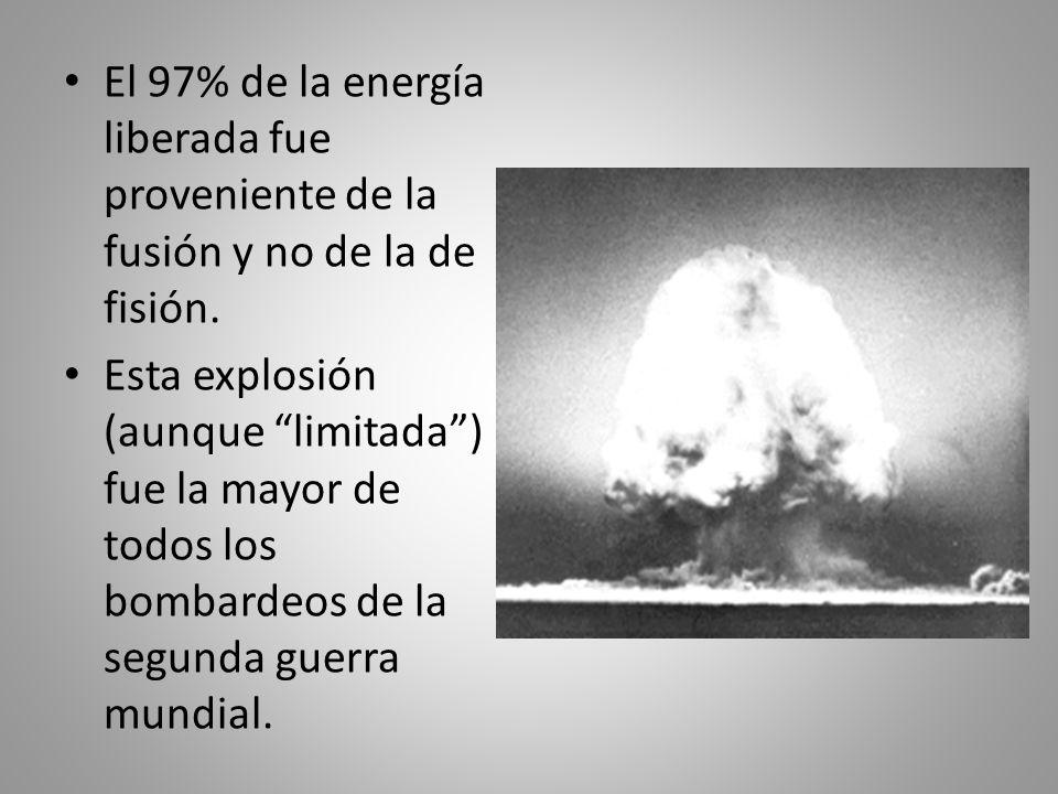 El 97% de la energía liberada fue proveniente de la fusión y no de la de fisión. Esta explosión (aunque limitada) fue la mayor de todos los bombardeos