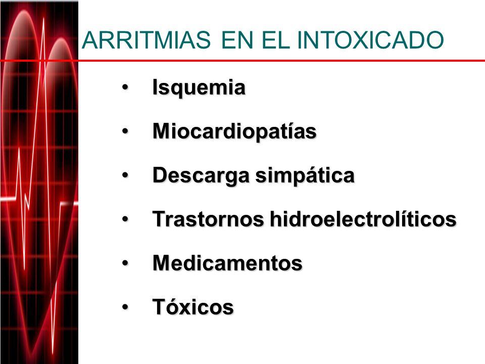 IsquemiaIsquemia MiocardiopatíasMiocardiopatías Descarga simpáticaDescarga simpática Trastornos hidroelectrolíticosTrastornos hidroelectrolíticos Medi