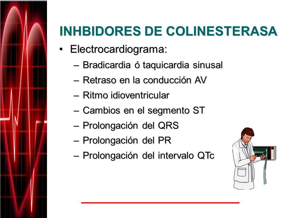 INHBIDORES DE COLINESTERASA Electrocardiograma:Electrocardiograma: –Bradicardia ó taquicardia sinusal –Retraso en la conducción AV –Ritmo idioventricu