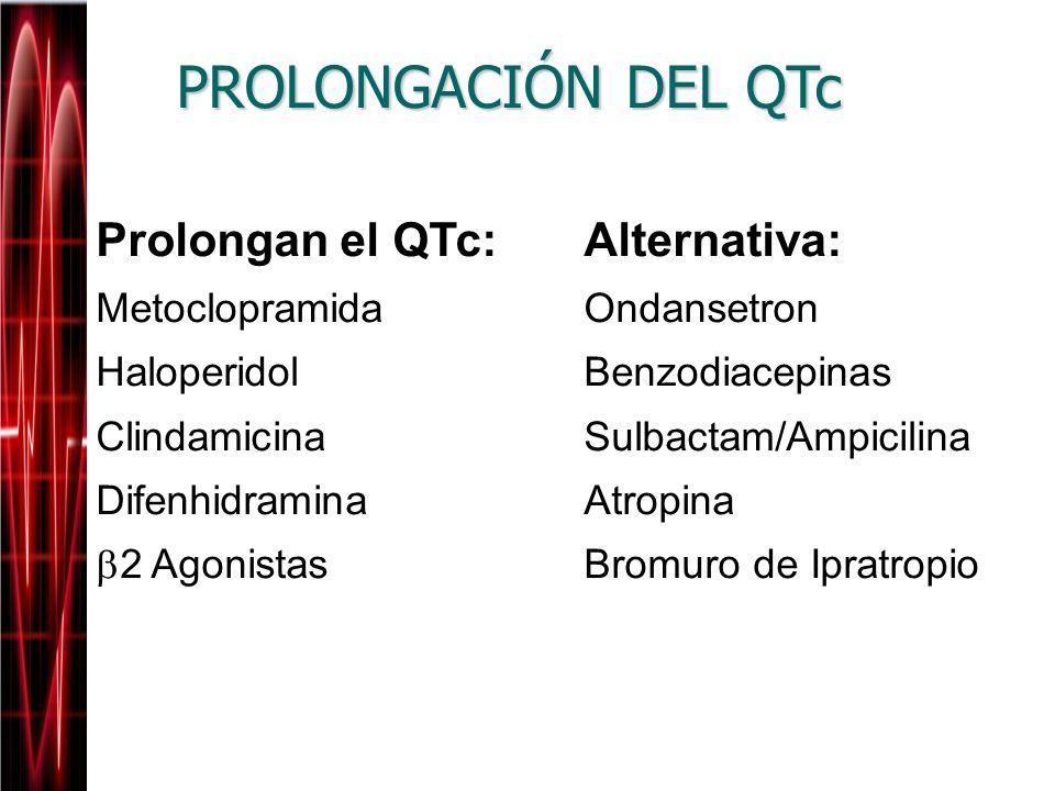 PROLONGACIÓN DEL QTc Prolongan el QTc:Alternativa: MetoclopramidaOndansetron HaloperidolBenzodiacepinas ClindamicinaSulbactam/Ampicilina Difenhidramin