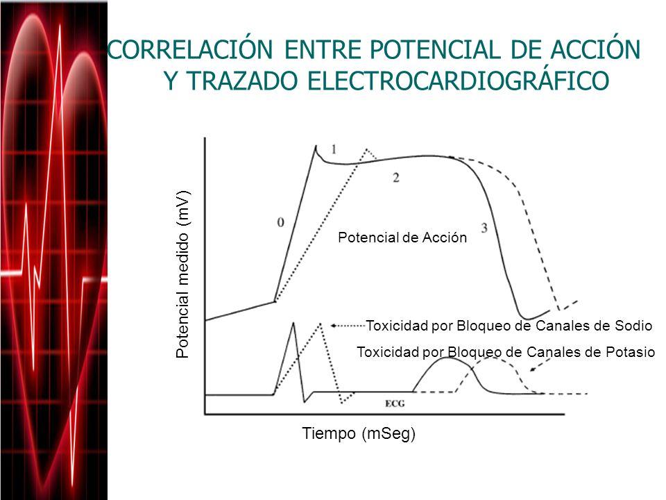 CORRELACIÓN ENTRE POTENCIAL DE ACCIÓN Y TRAZADO ELECTROCARDIOGRÁFICO Potencial medido (mV) Tiempo (mSeg) Potencial de Acción Toxicidad por Bloqueo de