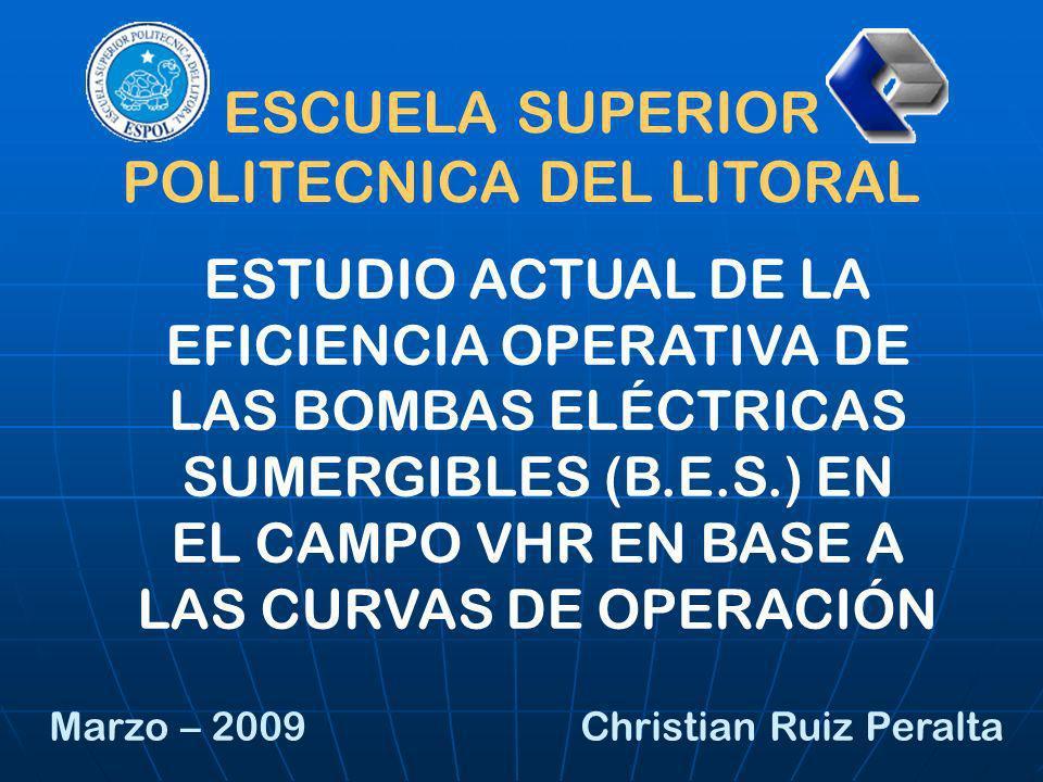 ESTUDIO ACTUAL DE LA EFICIENCIA OPERATIVA DE LAS BOMBAS ELÉCTRICAS SUMERGIBLES (B.E.S.) EN EL CAMPO VHR EN BASE A LAS CURVAS DE OPERACIÓN ESCUELA SUPE