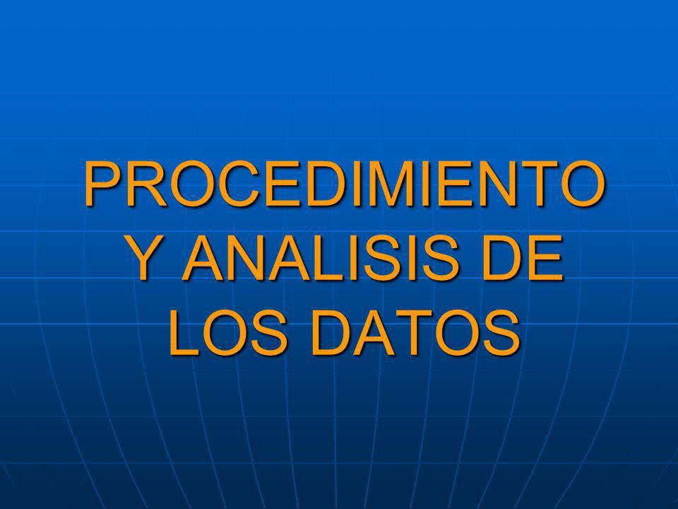 PROCEDIMIENTO Y ANALISIS DE LOS DATOS
