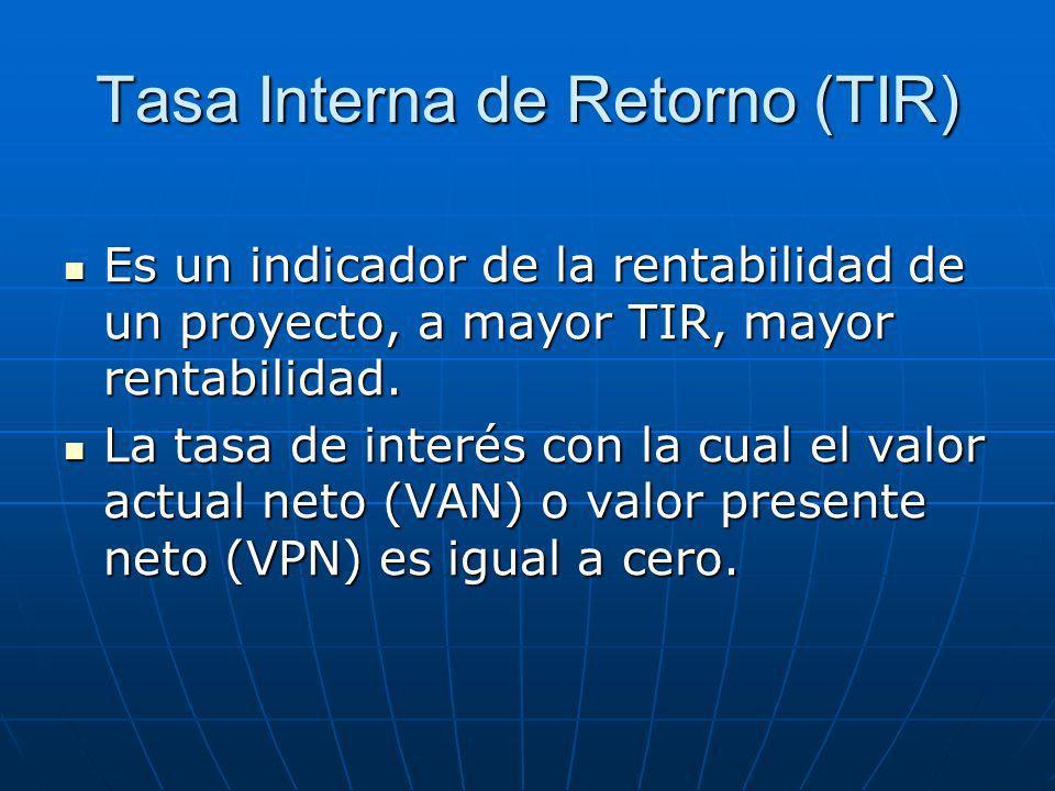 Tasa Interna de Retorno (TIR) Es un indicador de la rentabilidad de un proyecto, a mayor TIR, mayor rentabilidad. Es un indicador de la rentabilidad d