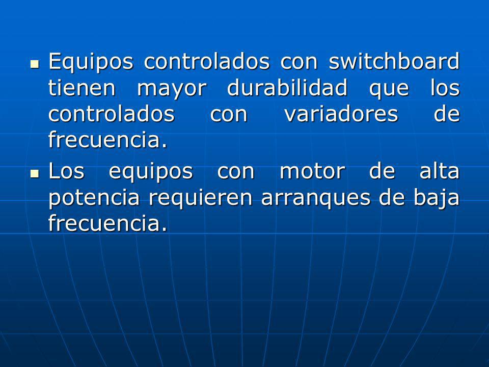 Equipos controlados con switchboard tienen mayor durabilidad que los controlados con variadores de frecuencia. Equipos controlados con switchboard tie