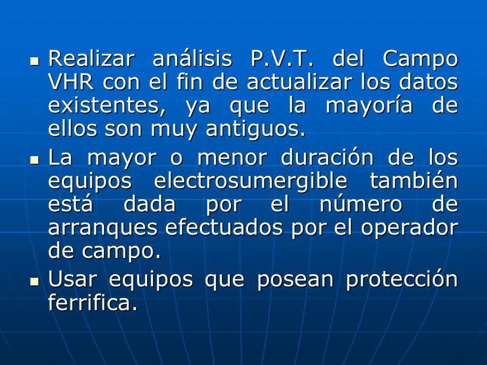 Realizar análisis P.V.T. del Campo VHR con el fin de actualizar los datos existentes, ya que la mayoría de ellos son muy antiguos. Realizar análisis P