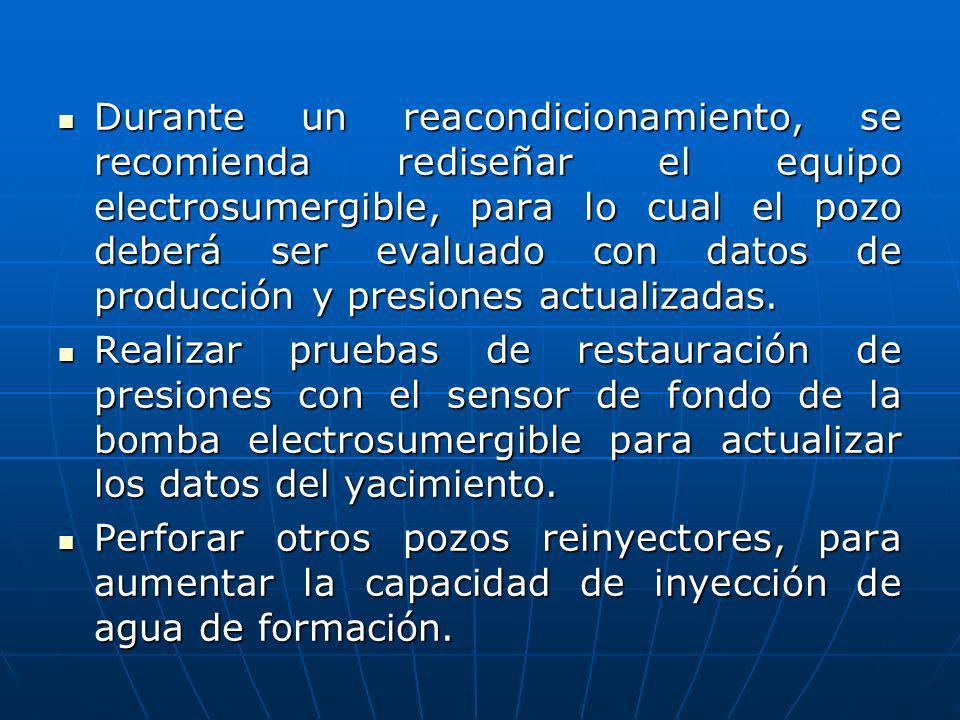 Durante un reacondicionamiento, se recomienda rediseñar el equipo electrosumergible, para lo cual el pozo deberá ser evaluado con datos de producción