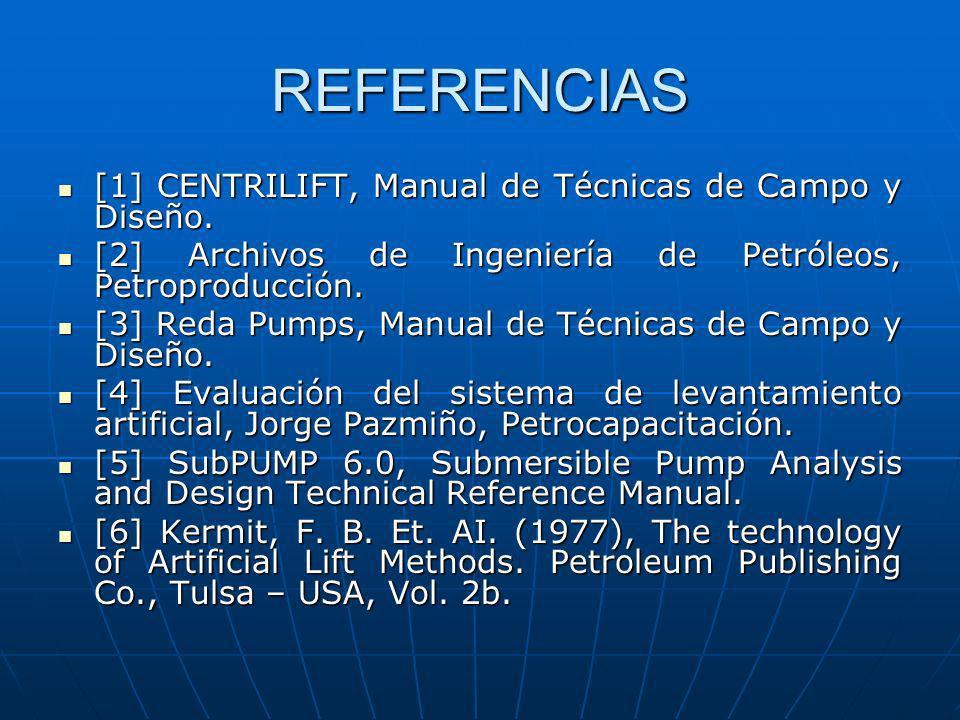 REFERENCIAS [1] CENTRILIFT, Manual de Técnicas de Campo y Diseño. [1] CENTRILIFT, Manual de Técnicas de Campo y Diseño. [2] Archivos de Ingeniería de