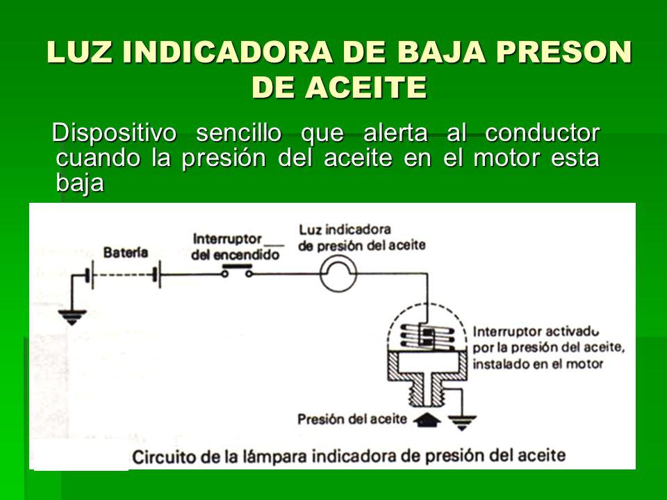 LUZ INDICADORA DE BAJA PRESON DE ACEITE Dispositivo sencillo que alerta al conductor cuando la presión del aceite en el motor esta baja Dispositivo sencillo que alerta al conductor cuando la presión del aceite en el motor esta baja