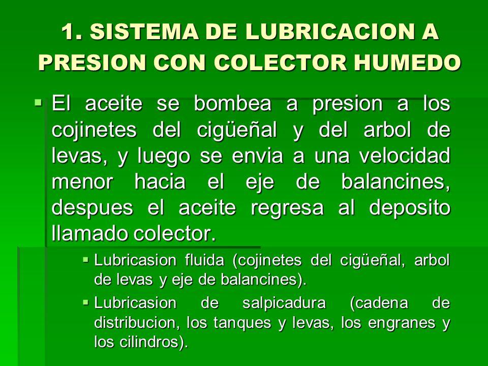 1. SISTEMA DE LUBRICACION A PRESION CON COLECTOR HUMEDO El aceite se bombea a presion a los cojinetes del cigüeñal y del arbol de levas, y luego se en