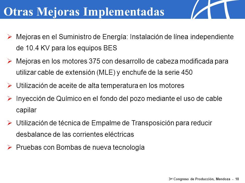 3 er Congreso de Producción, Mendoza - 18 Otras Mejoras Implementadas Mejoras en el Suministro de Energía: Instalación de línea independiente de 10.4