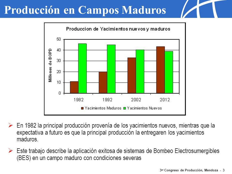 3 er Congreso de Producción, Mendoza - 3 Producción en Campos Maduros En 1982 la principal producción provenía de los yacimientos nuevos, mientras que