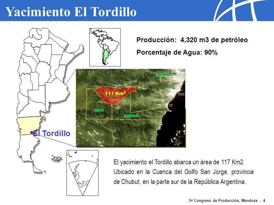 3 er Congreso de Producción, Mendoza - 5 Yacimiento El Tordillo Tipo de Sistema Cantidad Producción Bruta (m3/d) Bruta por Pozo (m3/d) Producción Neta (m3/d) Neta por Pozo (m3/d) BES22724.935108.61.8008,0 BM47617.78536.62.4005,0 PCP2475031.25702,9 Surgente915016.6475,2 TOTAL73643.620-4.320- Datos operativos a Junio 2006 Sistemas BES producen 57% del fluido total de El Tordillo, con 42% de la producción Neta