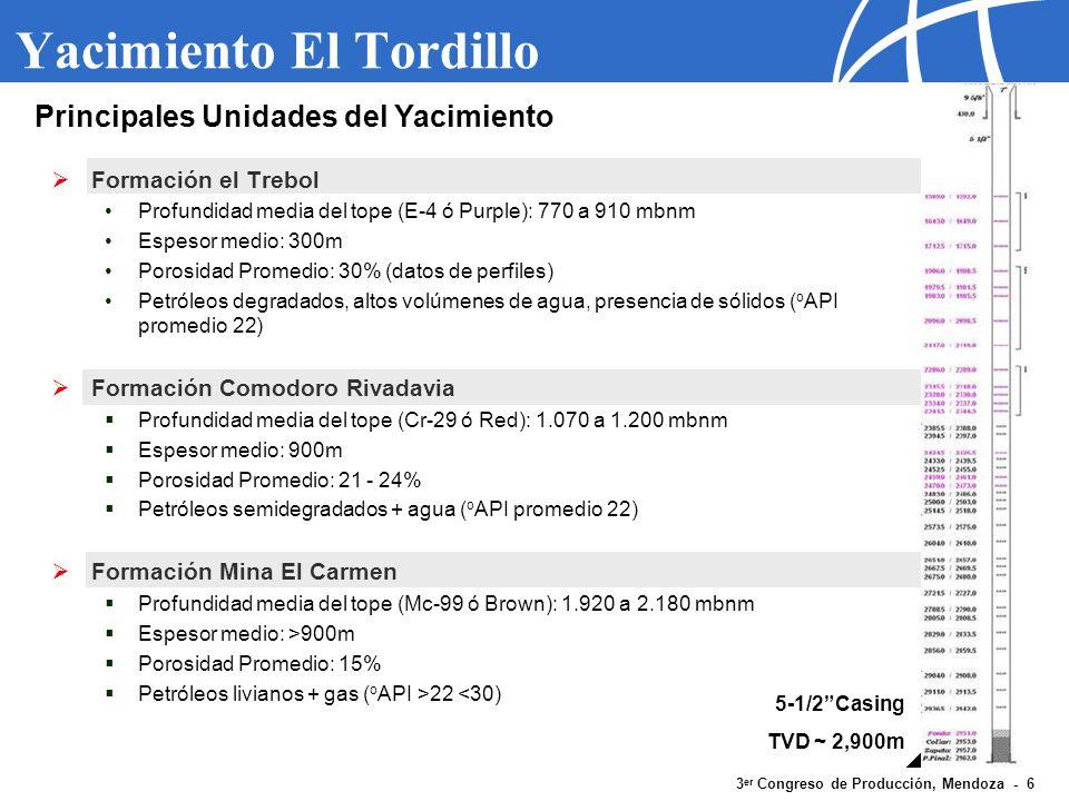 3 er Congreso de Producción, Mendoza - 6 Yacimiento El Tordillo Formación el Trebol Profundidad media del tope (E-4 ó Purple): 770 a 910 mbnm Espesor