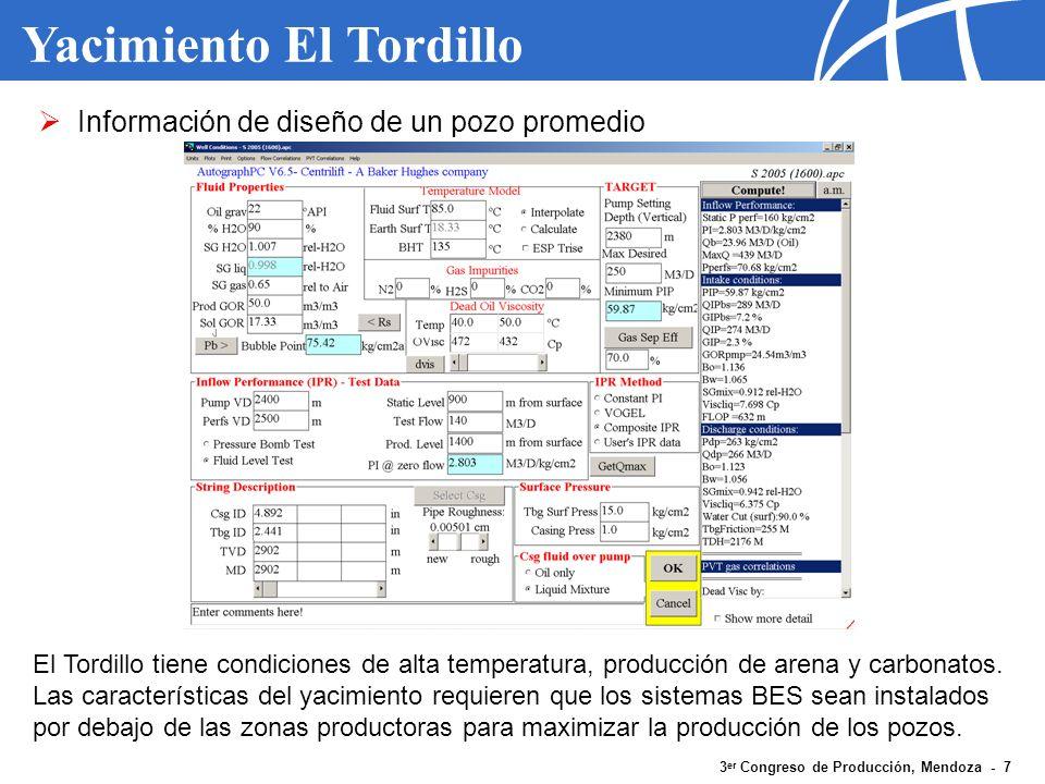 3 er Congreso de Producción, Mendoza - 7 Yacimiento El Tordillo Información de diseño de un pozo promedio El Tordillo tiene condiciones de alta temper