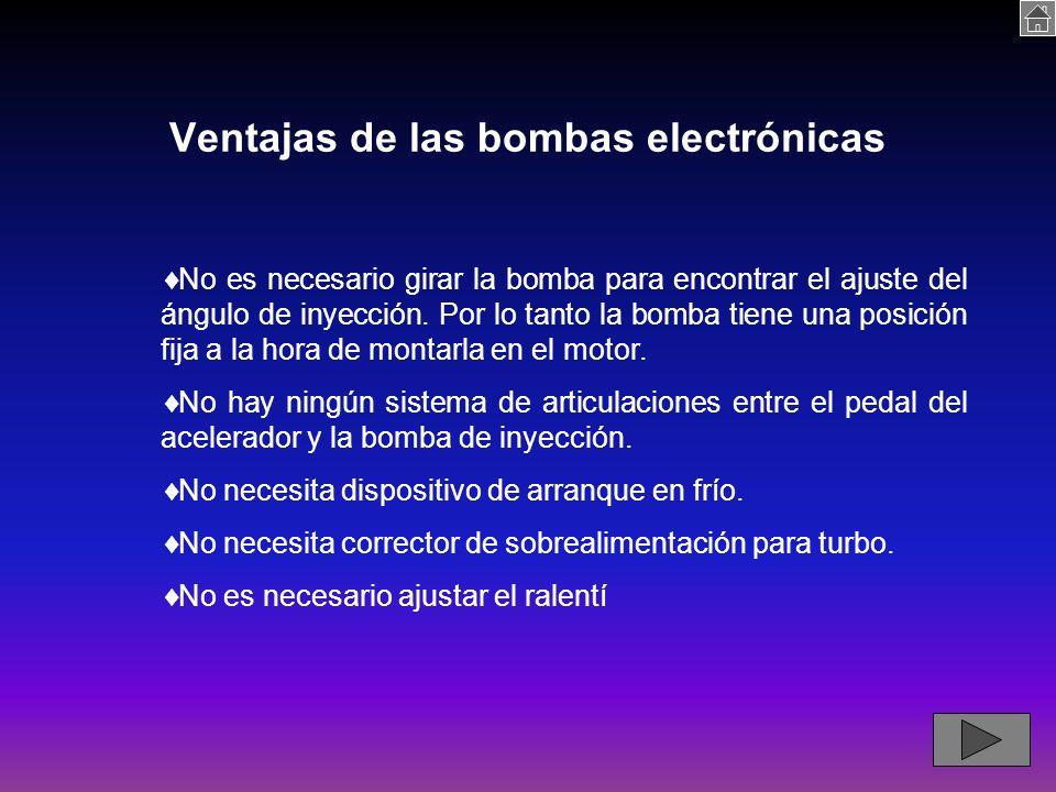 Ventajas de las bombas electrónicas No es necesario girar la bomba para encontrar el ajuste del ángulo de inyección.