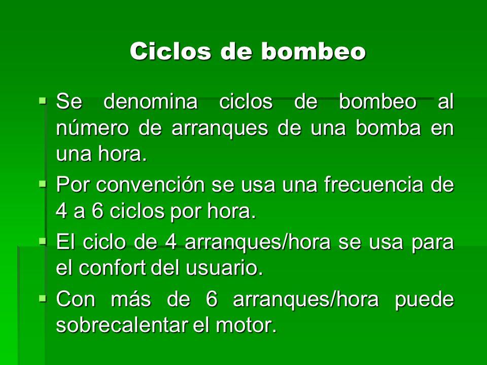 Ciclos de bombeo Se denomina ciclos de bombeo al número de arranques de una bomba en una hora.