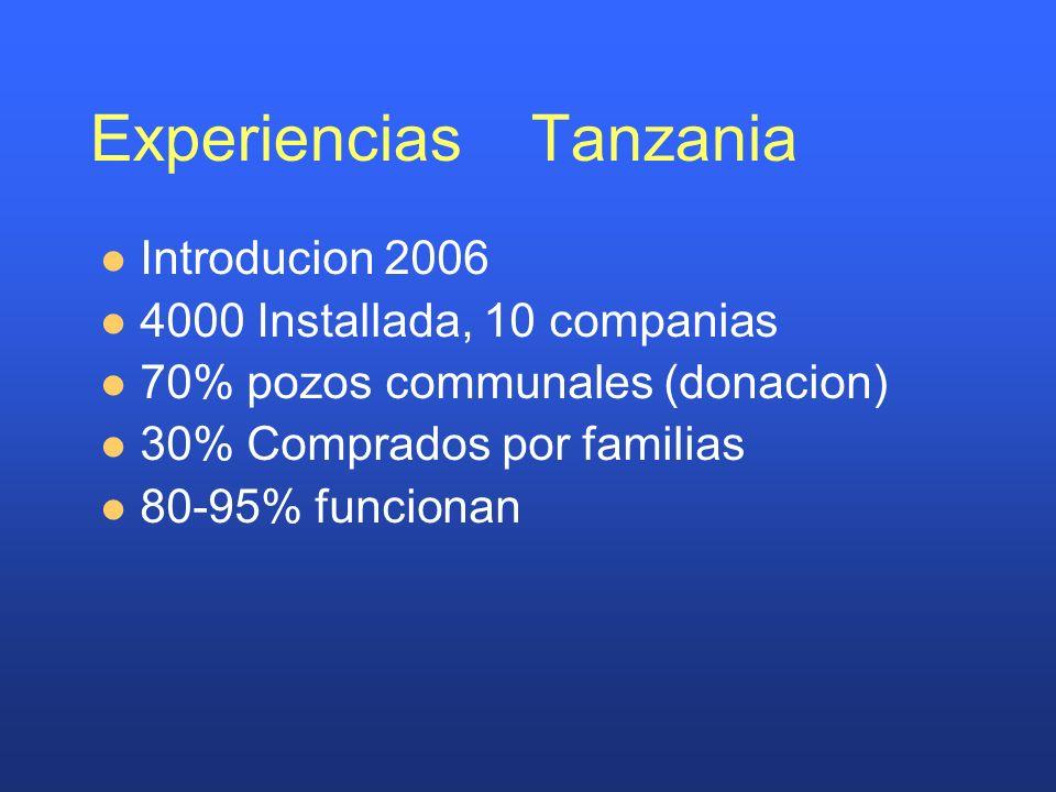 Experiencias Tanzania Introducion 2006 4000 Installada, 10 companias 70% pozos communales (donacion) 30% Comprados por familias 80-95% funcionan
