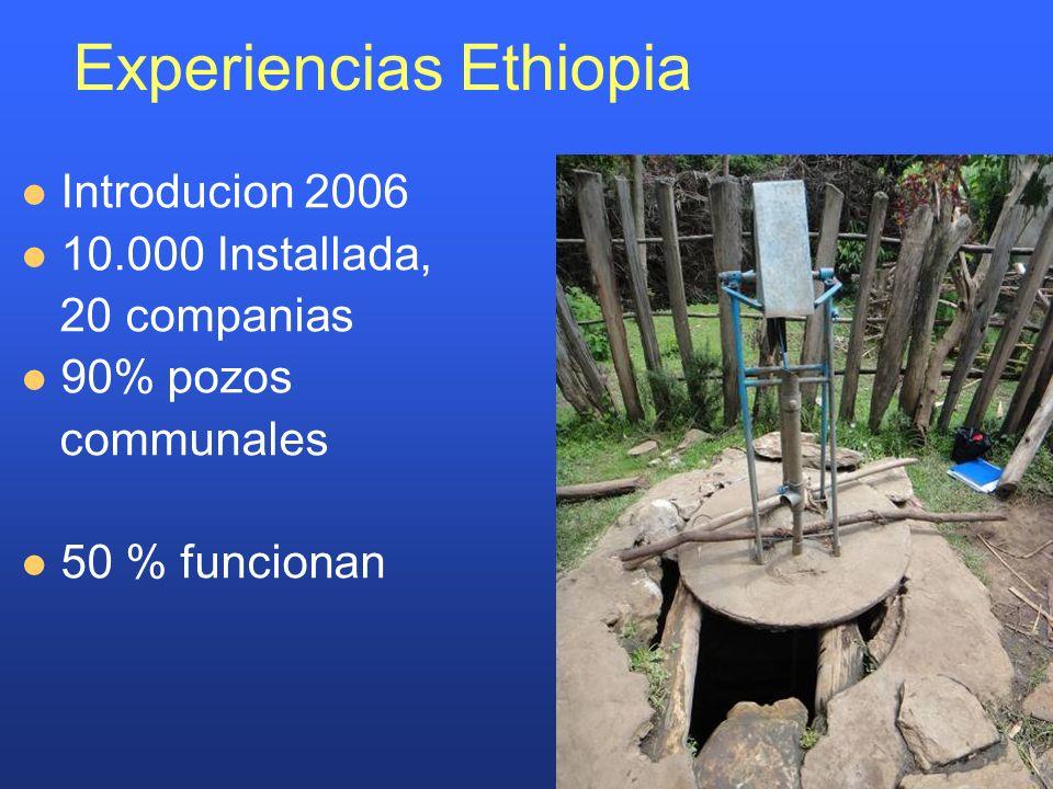 Experiencias Ethiopia Introducion 2006 10.000 Installada, 20 companias 90% pozos communales 50 % funcionan