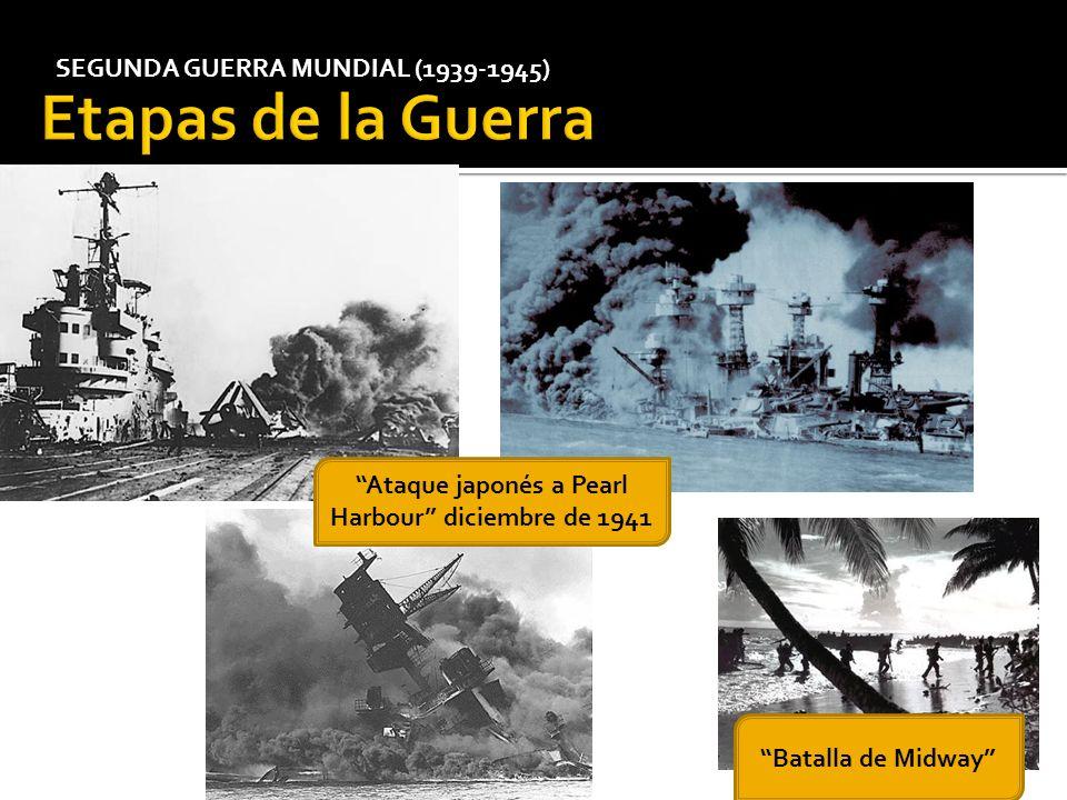 SEGUNDA GUERRA MUNDIAL (1939-1945) Ataque japonés a Pearl Harbour diciembre de 1941 Batalla de Midway