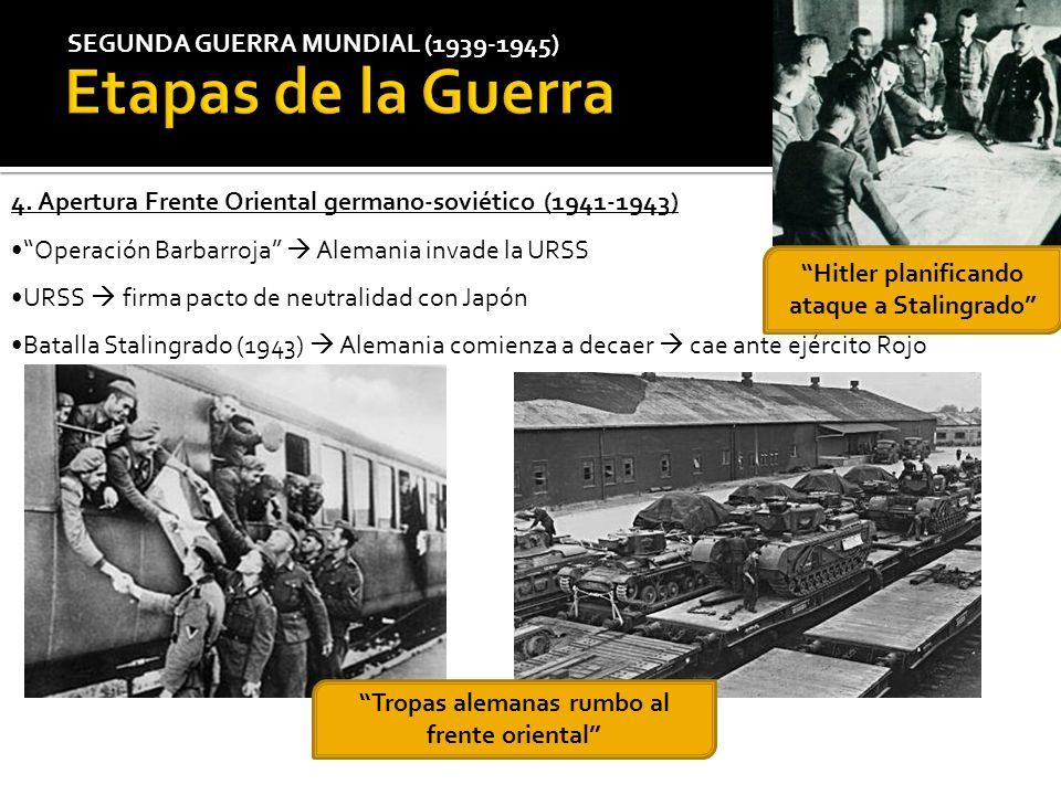 SEGUNDA GUERRA MUNDIAL (1939-1945) 4. Apertura Frente Oriental germano-soviético (1941-1943) Operación Barbarroja Alemania invade la URSS URSS firma p
