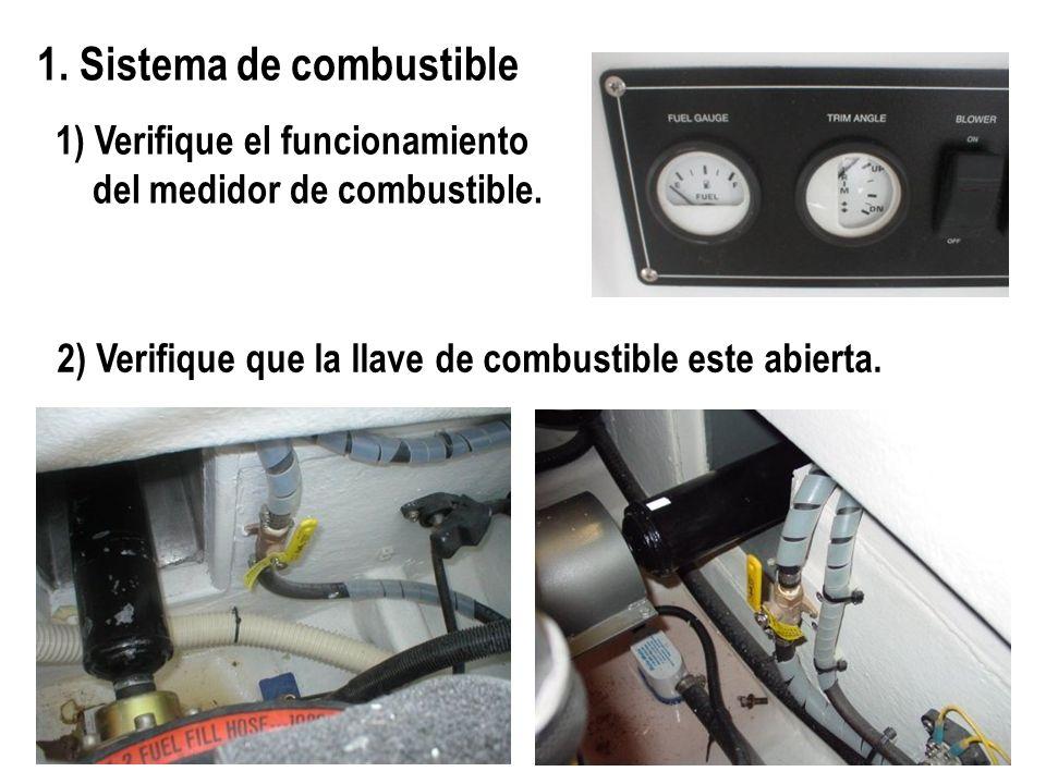 1. Sistema de combustible 1) Verifique el funcionamiento del medidor de combustible. 2) Verifique que la llave de combustible este abierta.