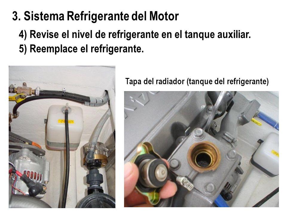 4) Revise el nivel de refrigerante en el tanque auxiliar. 5) Reemplace el refrigerante. 3. Sistema Refrigerante del Motor Tapa del radiador (tanque de