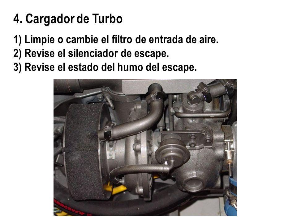 4. Cargador de Turbo 1) Limpie o cambie el filtro de entrada de aire. 2) Revise el silenciador de escape. 3) Revise el estado del humo del escape.