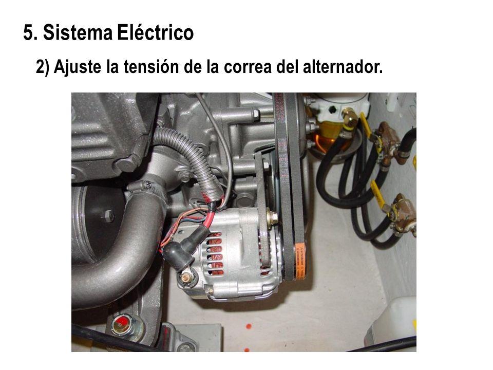 2) Ajuste la tensión de la correa del alternador. 5. Sistema Eléctrico
