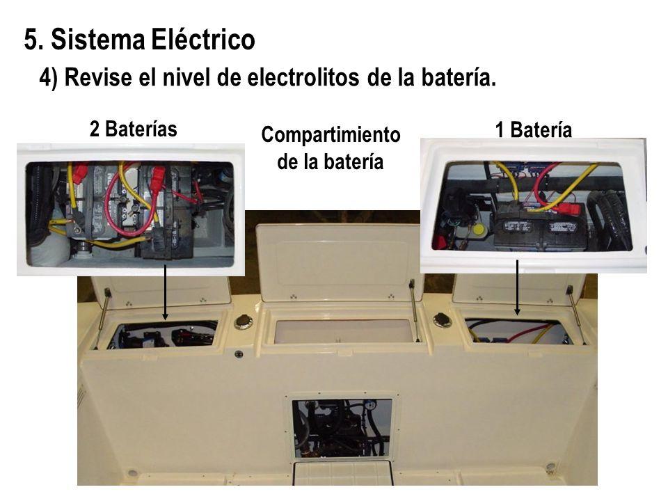 5. Sistema Eléctrico Compartimiento de la batería 1 Batería 2 Baterías 4) Revise el nivel de electrolitos de la batería.