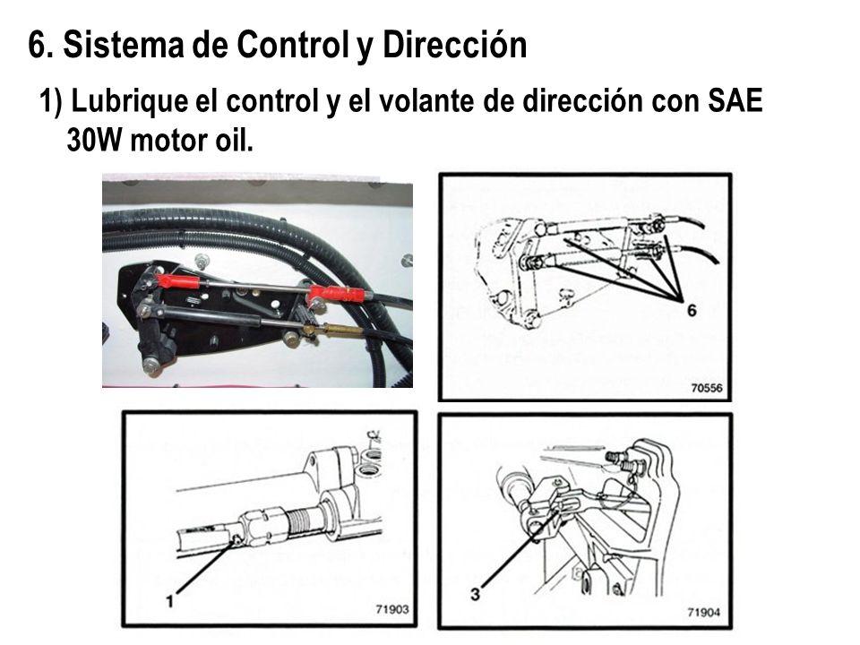 6. Sistema de Control y Dirección 1) Lubrique el control y el volante de dirección con SAE 30W motor oil.