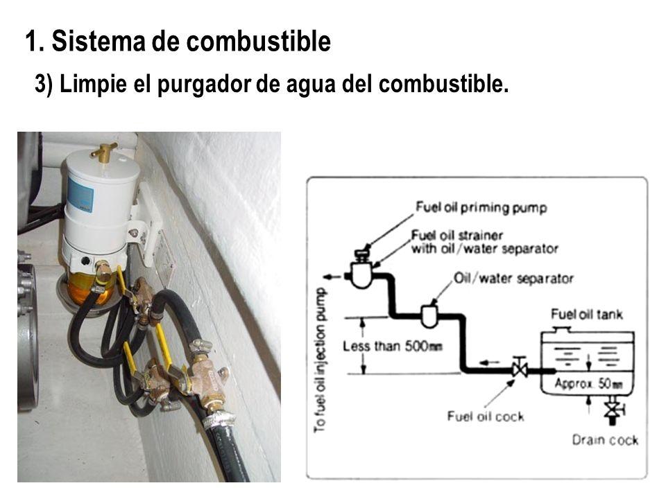 3) Limpie el purgador de agua del combustible. 1. Sistema de combustible