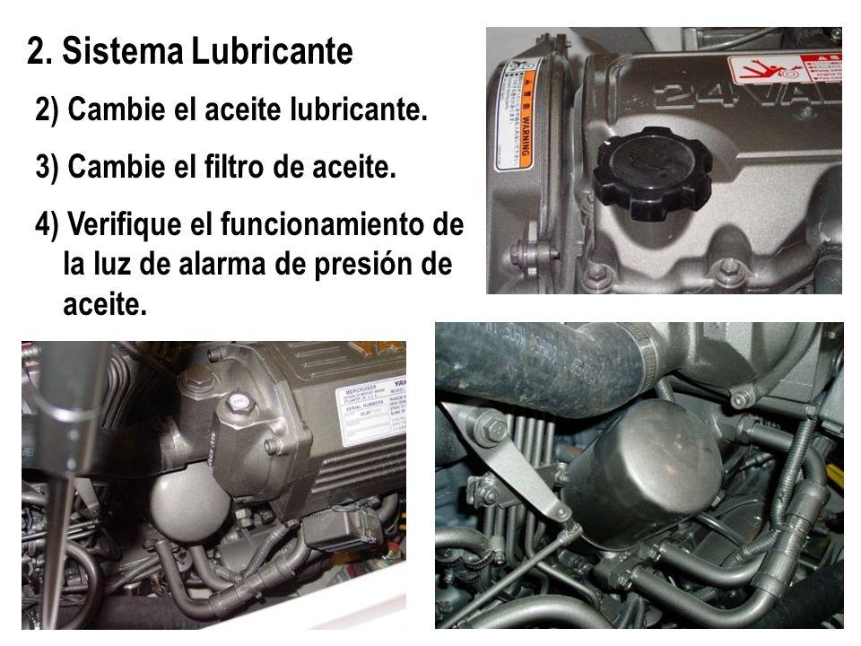 2) Cambie el aceite lubricante. 3) Cambie el filtro de aceite. 4) Verifique el funcionamiento de la luz de alarma de presión de aceite. 2. Sistema Lub
