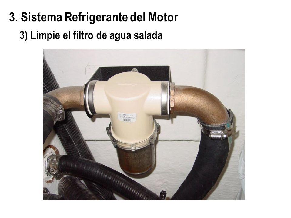 3. Sistema Refrigerante del Motor 3) Limpie el filtro de agua salada
