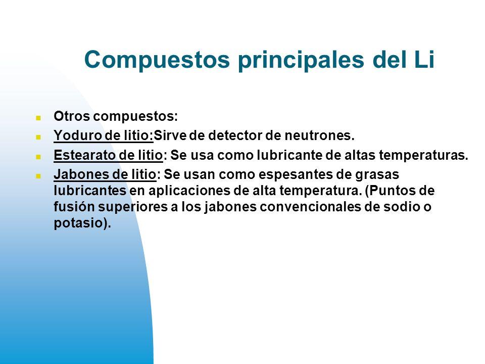 Compuestos principales del Li Otros compuestos: Yoduro de litio:Sirve de detector de neutrones.
