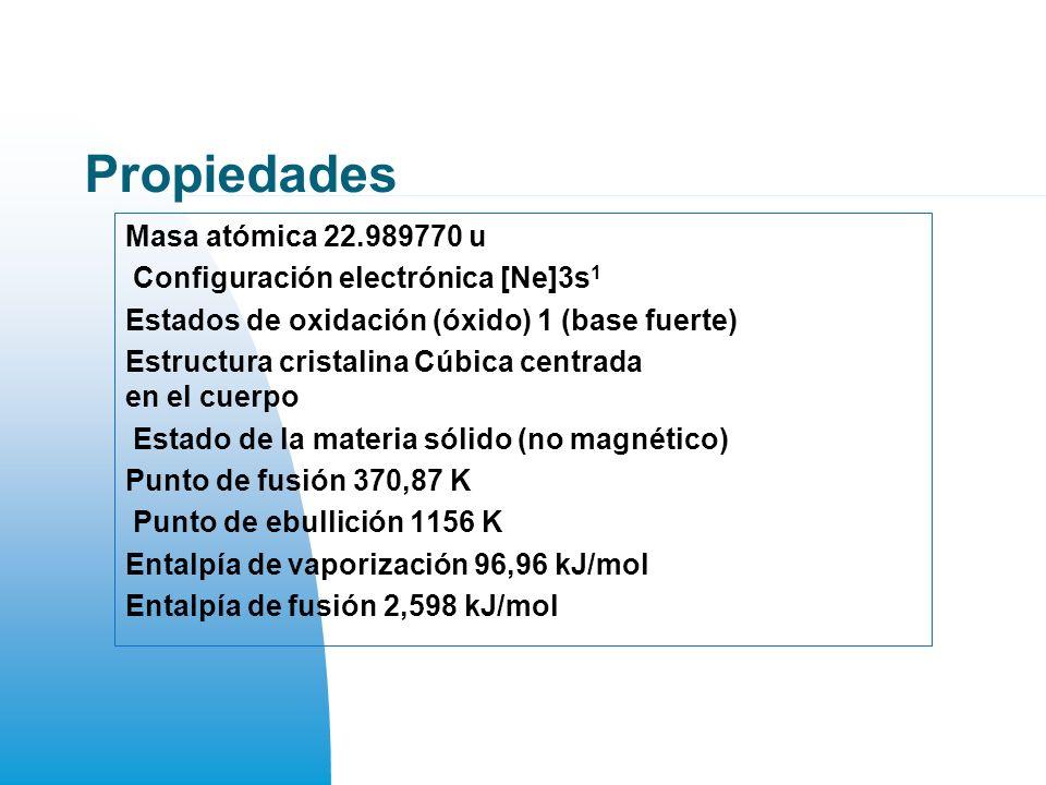 Propiedades Masa atómica 22.989770 u Configuración electrónica [Ne]3s 1 Estados de oxidación (óxido) 1 (base fuerte) Estructura cristalina Cúbica centrada en el cuerpo Estado de la materia sólido (no magnético) Punto de fusión 370,87 K Punto de ebullición 1156 K Entalpía de vaporización 96,96 kJ/mol Entalpía de fusión 2,598 kJ/mol