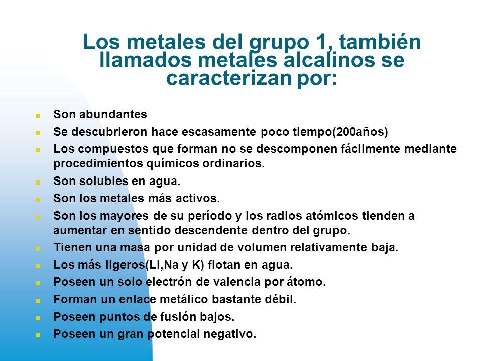 Los metales del grupo 1, también llamados metales alcalinos se caracterizan por: Son abundantes Se descubrieron hace escasamente poco tiempo(200años) Los compuestos que forman no se descomponen fácilmente mediante procedimientos químicos ordinarios.