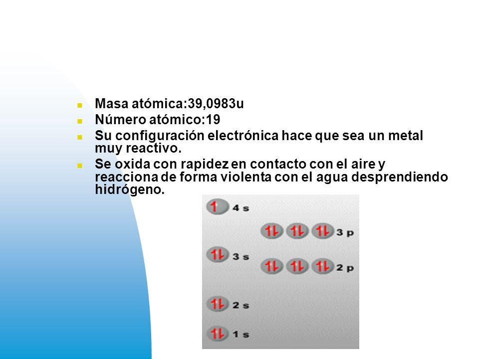 Masa atómica:39,0983u Número atómico:19 Su configuración electrónica hace que sea un metal muy reactivo.